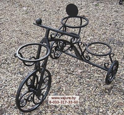 Цветочница-велосипед кованый h=0,74м.