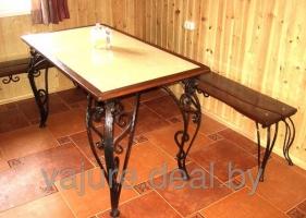 Стол и скамейки кованые 1,8 м длиной №2