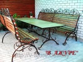Кованая мебель: кованые скамейки 2 шт и стол №1